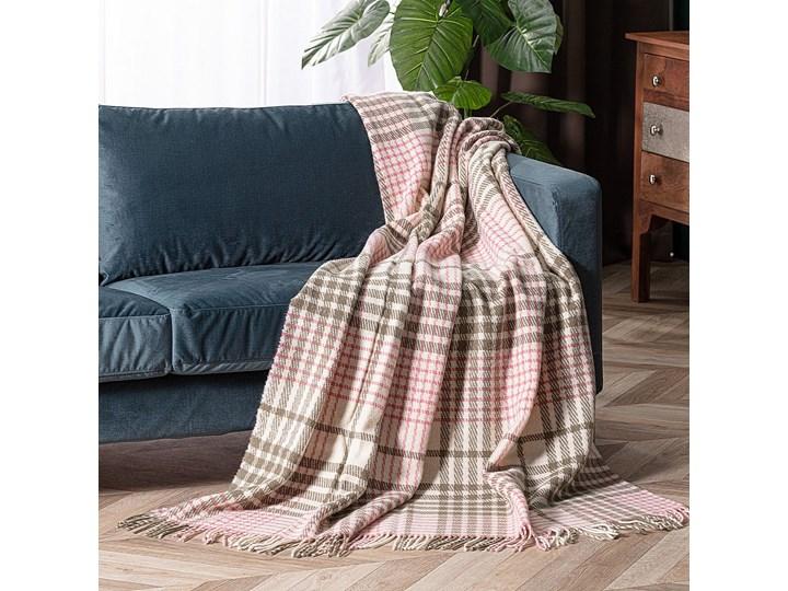 Pled Zelandia 140x200cm khaki/old rose, 140 x 200 cm 130x180 cm Wełna 140x200 cm Pomieszczenie Salon