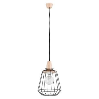 Druciana lampa kratka PEKA czarna/drewno śr. 24cm
