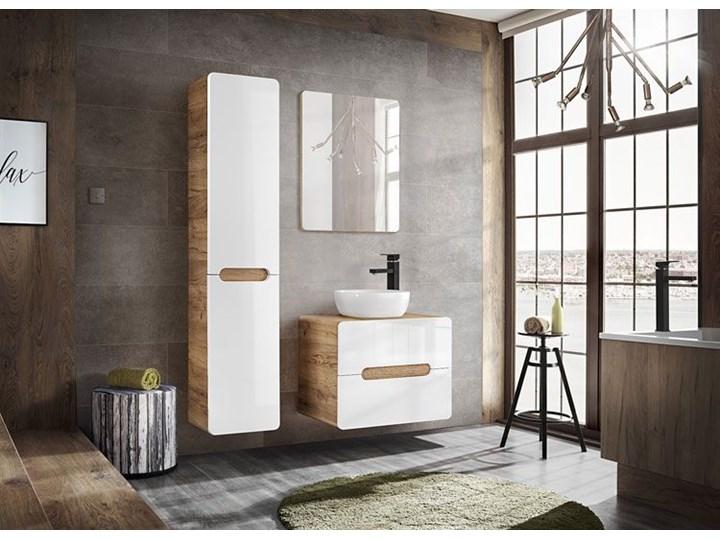 Słupek łazienkowy z koszem Borneo 9X - Biały połysk Stojące Szerokość 35 cm Wysokość 170 cm Kategoria Szafki stojące