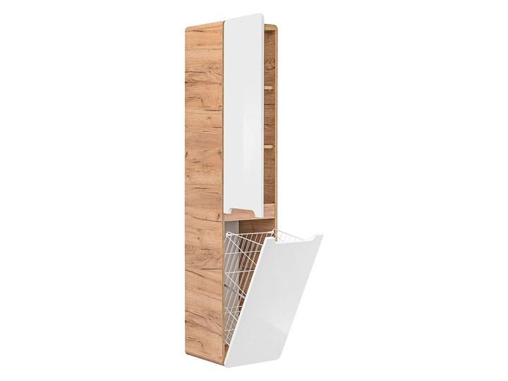 Słupek łazienkowy z koszem Borneo 9X - Biały połysk Wysokość 170 cm Stojące Szerokość 35 cm Kategoria Szafki stojące