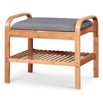 Drewniany stojak na obuwie z tapicerowanym siedziskiem ST12