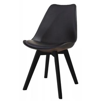 Krzesło kris czarne z poduszką czarne nogi
