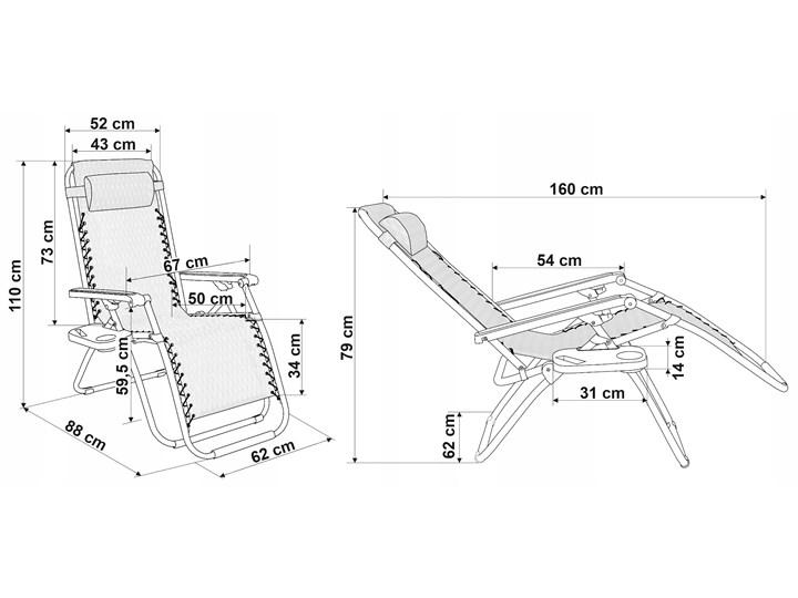 Leżak ogrodowy Orion Zero Gravity -  czarny Tworzywo sztuczne Składane Metal Z regulowanym oparciem Kategoria Leżaki ogrodowe