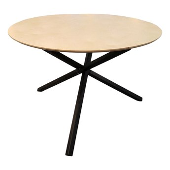 SELSEY Stół Marselle średnica 100 cm na czarnej podstawie