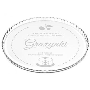 Patera szklana na ciasto bez nóżki grawer dla teściowej