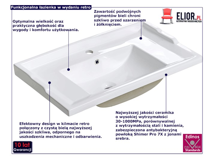 Umywalka ceramiczna meblowa Kington 3X Meblowe Ceramika Prostokątne Kategoria Umywalki