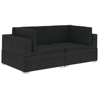 vidaXL Fotele narożne, 2 szt., z poduszkami, polirattan, czarne