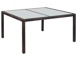 VidaXL Stół ogrodowy, 150x90x75 cm, brązowy, rattan PE i szkło
