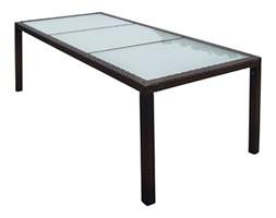 VidaXL Stół ogrodowy, 190x90x75 cm, brązowy, rattan PE i szkło
