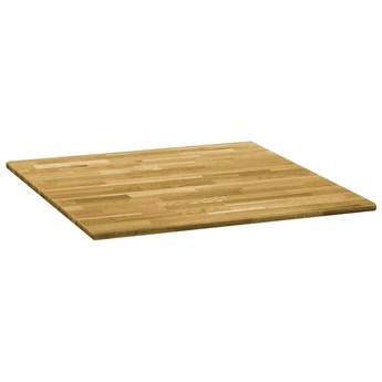 VidaXL Kwadratowy blat do stolika z drewna dębowego, 23 mm, 80 x 80 cm