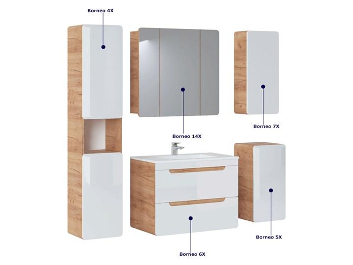Podwieszana szafka łazienkowa z lustrem - Borneo 14X Szerokość 80 cm Wysokość 75 cm Szafki Wiszące Kategoria Szafki stojące