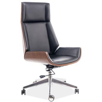 Elegancki fotel biurowy z czarnej ekoskóry Maryland
