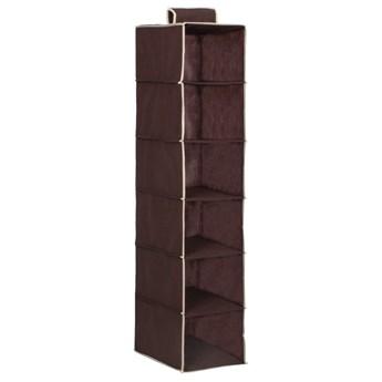 Organizer do szafy wiszący z 6 półkami brązowy