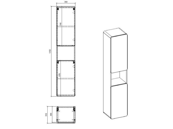 Zestaw podwieszanych mebli łazienkowych Borneo 3Q 60 cm - Biały połysk Kategoria Zestawy mebli łazienkowych