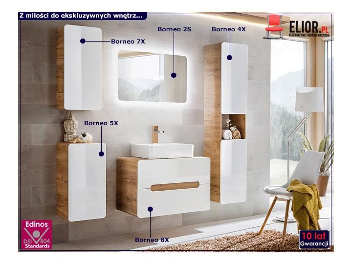 Komplet wiszących mebli łazienkowych Borneo 4Q 60 cm - Biały połysk Kategoria Zestawy mebli łazienkowych Kolor Brązowy