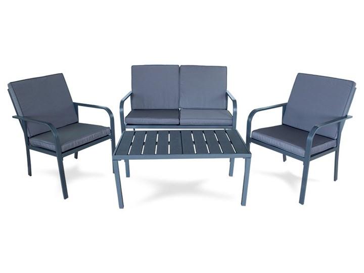 Meble ogrodowe zestaw na taras ławka fotel stolik z poduszkami szare x009 Zestawy wypoczynkowe Tworzywo sztuczne Zestawy kawowe Rattan Kolor Szary