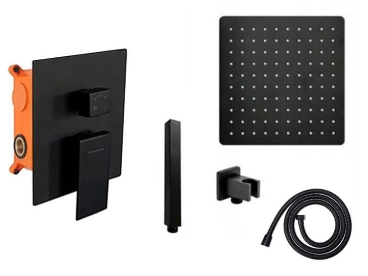 VELDMAN CZARNY ZESTAW PODTYNKOWY QUADRO BLACK Wyposażenie Z uchwytem Wyposażenie Z słuchawką