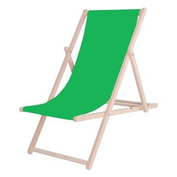 Leżak drewniany z materiałem zielonym