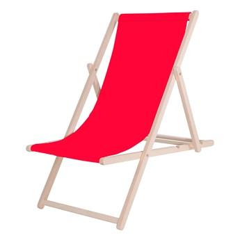 Leżak drewniany lakierowany czerwony