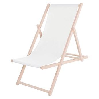 Leżak drewniany z materiałem białym