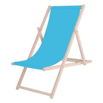 Leżak drewniany z materiałem niebieskim