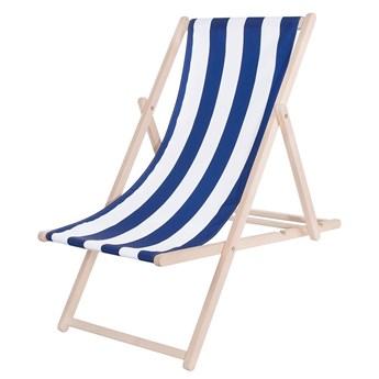 Leżak drewniany z materiałem pasy niebieskie