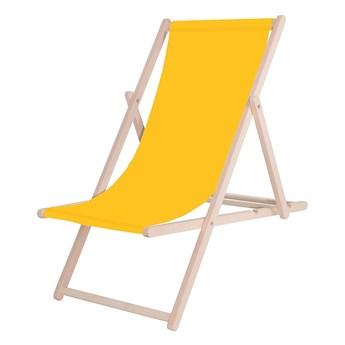 Leżak drewniany z materiałem żółtym