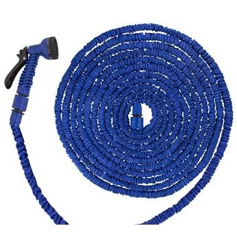 Wąż ogrodowy rozciągliwy szlauch lateksowy 15m - 45m z pistoletem niebieski