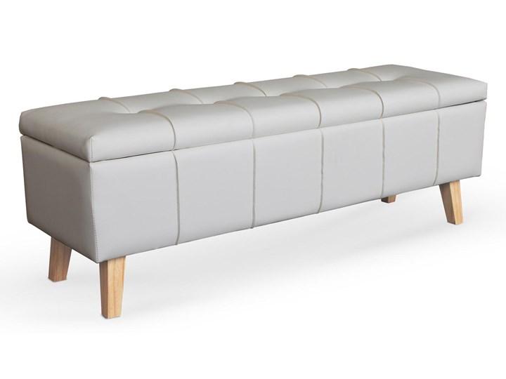 Tapicerowana ekoskórą ławka z pojemnikiem w kolorze białym Massimo