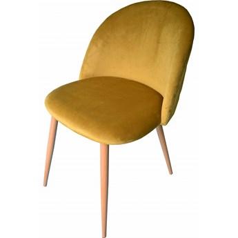 Krzesło welurowe velvet aksamit musztardowe