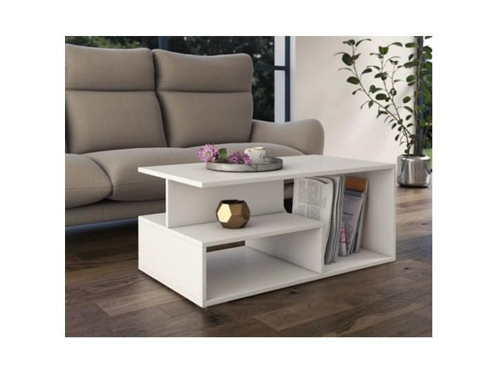 Nowoczesny biały stolik kawowy z półkami 90x51