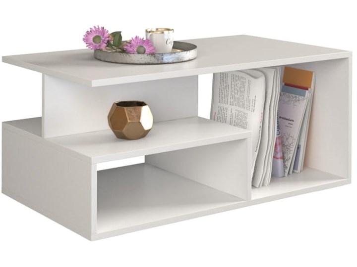 Nowoczesny biały stolik kawowy z półkami 90x51 Płyta meblowa Wysokość 43 cm Ława Styl Minimalistyczny