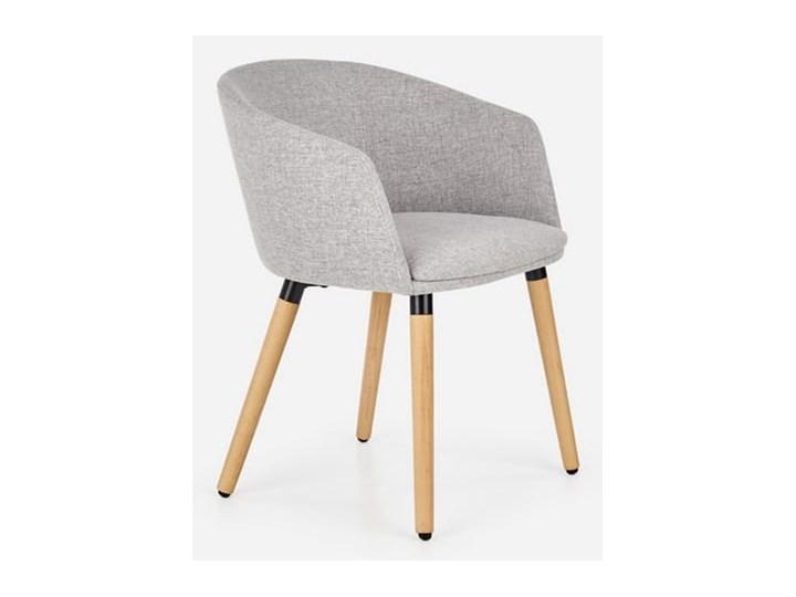 Półokrągły fotel do jadalni, jasny popiel + drewno