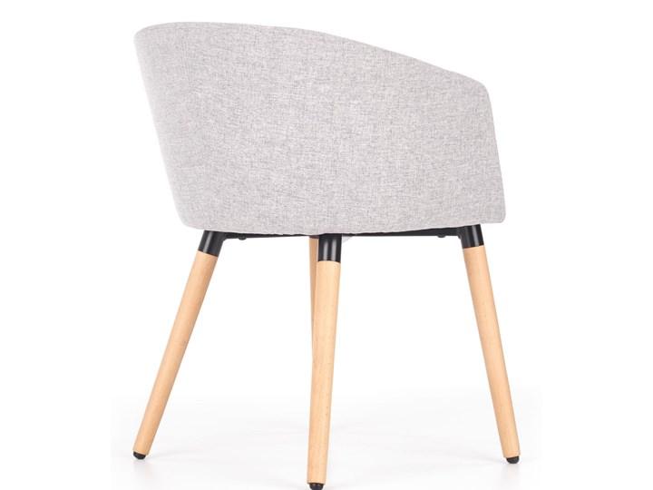 Półokrągły fotel do jadalni, jasny popiel + drewno Tkanina Styl Nowoczesny Szerokość 56 cm Głębokość 56 cm Styl Skandynawski