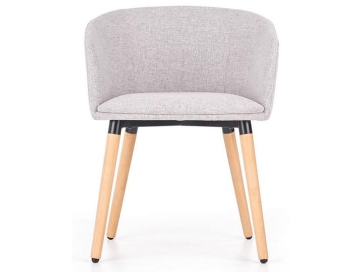 Półokrągły fotel do jadalni, jasny popiel + drewno Szerokość 56 cm Styl Skandynawski Tkanina Głębokość 56 cm Styl Orientalny