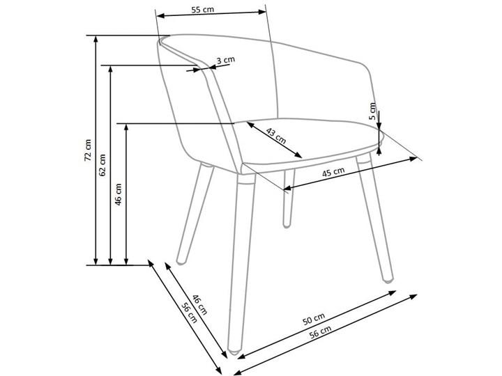 Półokrągły fotel do jadalni, jasny popiel + drewno Głębokość 56 cm Tkanina Szerokość 56 cm Styl Nowoczesny