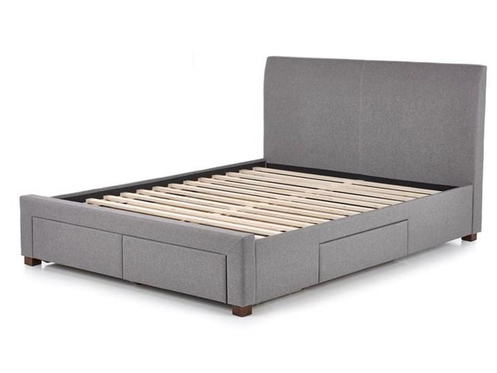 Łóże małżeńskie szare z zagłówkiem 140x200 Kolor Szary Kategoria Łóżka do sypialni