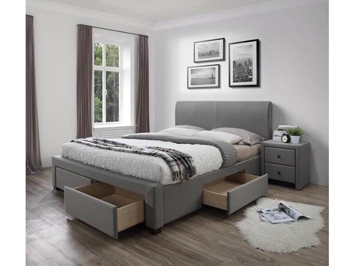 Łóże małżeńskie szare z zagłówkiem 140x200 Kategoria Łóżka do sypialni Kolor Szary