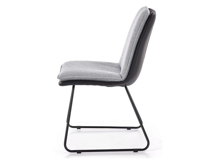 Krzesło z miękkim siedziskiem, metalowe płozy, loft Tworzywo sztuczne Głębokość 55 cm Głębokość 48 cm Skóra ekologiczna Pomieszczenie Salon Krzesło inspirowane Tkanina Szerokość 48 cm Tapicerowane Wysokość 85 cm Szerokość 44 cm Stal Kolor Czarny