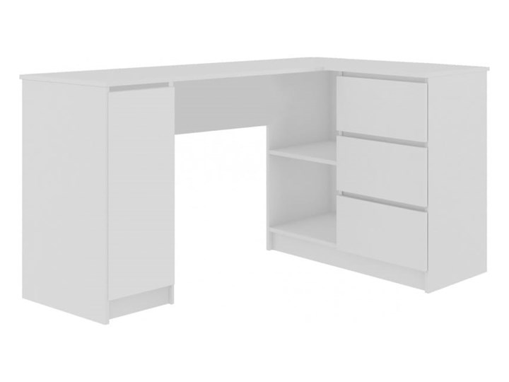 Białe biurko z szufladami i szafką narożne Głębokość 85 cm Biurko komputerowe Szerokość 155 cm Biurko gamingowe Biurko narożne Biurko regulowane Pomieszczenie Pokój nastolatka