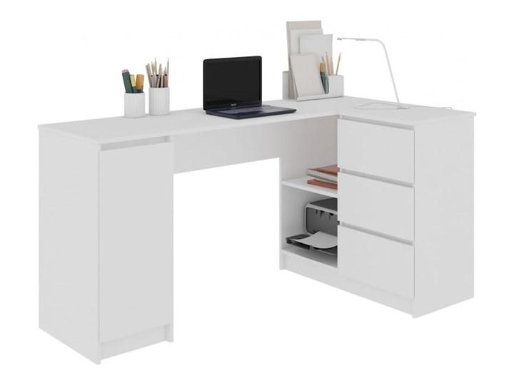 Białe biurko z szufladami i szafką narożne Szerokość 155 cm Biurko gamingowe Biurko narożne Biurko komputerowe Biurko regulowane Głębokość 85 cm Pomieszczenie Biuro
