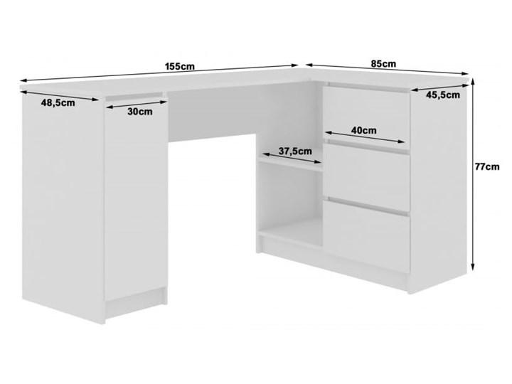 Białe biurko z szufladami i szafką narożne Pomieszczenie Biuro Głębokość 85 cm Biurko komputerowe Biurko regulowane Szerokość 155 cm Biurko gamingowe Biurko narożne Pomieszczenie Pokój nastolatka