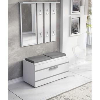Biały zestaw z lustrem, szafką i wieszakiem na korytarz