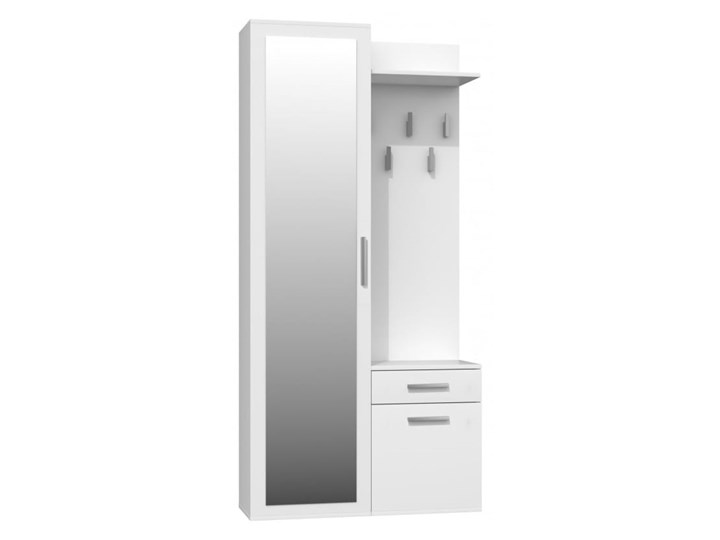 Biały zestaw mebli do korytarza z szafą Pomieszczenie Garderoba Pomieszczenie Przedpokój