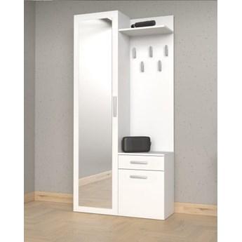 Biały zestaw mebli do korytarza z szafą