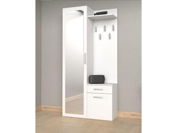 Biały zestaw mebli do korytarza z szafą Pomieszczenie Przedpokój Pomieszczenie Garderoba
