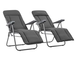 Rozkładane leżaki ogrodowe, komplet 2 szt fotele szare