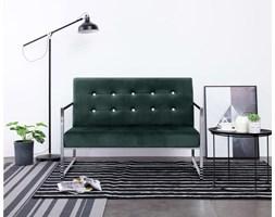 Dwuosobowa sofa w stylu glam pikowane oparcie zieleń