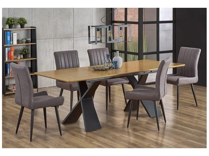 Duży industrialny stół rozkładany dąb naturalny/czarny 220 cm