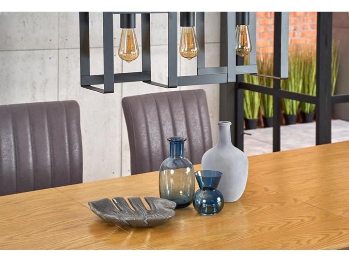 Duży industrialny stół rozkładany dąb naturalny/czarny 220 cm Szerokość 90 cm Płyta MDF Długość 160 cm  Drewno Stal Wysokość 75 cm Pomieszczenie Stoły do salonu